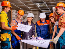 Business group people in builder helmet Stock Photography
