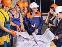 Business group people in builder helmet Royalty Free Stock Photo