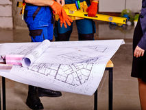 Business group people with drawing builder Royalty Free Stock Photos