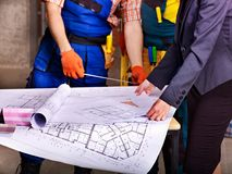 Business group people with drawing builder  . Royalty Free Stock Images