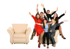 Business group of people give discount. Isolated. royalty free stock photos