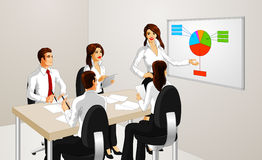 Business Group and Pie Chart. Business woman presenting a pie chart at a group meeting Royalty Free Stock Images