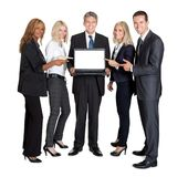 Business group pointing at the laptop Stock Photography