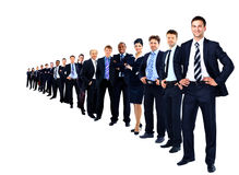 Business group in a row isolated Royalty Free Stock Photos
