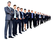 Business group in a row isolated Royalty Free Stock Image