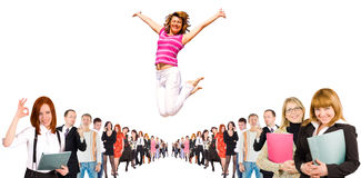 Business group with some jumping Stock Image