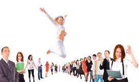 Business group with some jumping.  Royalty Free Stock Photos