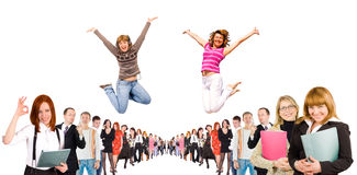 Business group with some jumping.  Stock Image