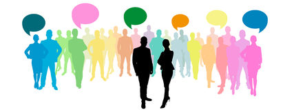 Business group with speech bubbles Stock Photography