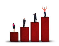 Business group standing on business chart isolated Stock Images
