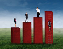 Business group standing on the graph 2 Royalty Free Stock Photo