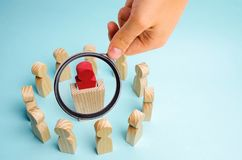 A business group stands in a circle and listens to the leader be stock photo