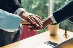 Business group teamwork success coordination hands. In office royalty free stock photos
