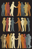 Business groups. Three sets of colorful editable silhouettes of business groups meeting vector illustration