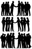 Business groups. Three sets of editable vector silhouettes of business groups meeting with each person as a separate element vector illustration
