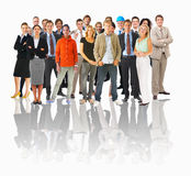 Business groups and different people in a line con. Big group or crowd of isolated small people in a line Royalty Free Stock Photo
