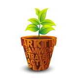 Business grow plant in a words pot Stock Image