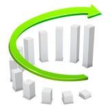 Business growing circular bars graph Stock Photo