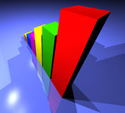 Business Growing graph. Business statistics graph made in 3d with lighting effects Royalty Free Stock Photos