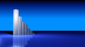 Business Growing graph. Business statistics graph made in 3d with lighting effects Royalty Free Stock Photography