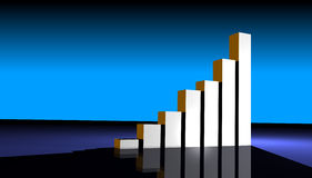 Business Growing graph. Business statistics graph made in 3d with lighting effects Stock Photography