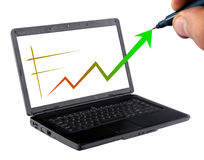 Business growing statistics. Concept of business growing statistics on laptop Royalty Free Stock Photo