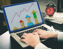 Business growing toy chart on computer Stock Photography