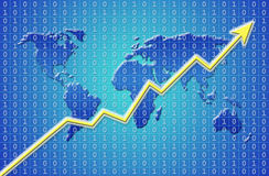 Business growth. Graph showing continuous worldwide business growth Royalty Free Stock Image