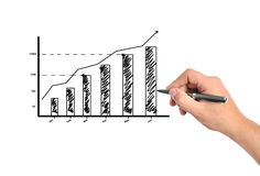 Business growth. Hand draws a graph of business growth Stock Image