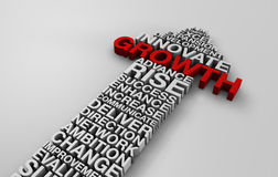 2014 business growth arrow with corporate words. 3d white text with key growth and success words for 2014 Stock Photos