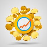 Business growth arrow with gold coins. Vector illustration Royalty Free Stock Image