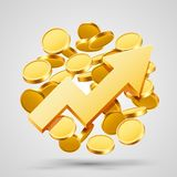 Business growth arrow with gold coins. Royalty Free Stock Photography