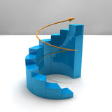 Business growth bar graph. Business bar graph with rising arrow Stock Image