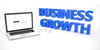 Business Growth. Laptop computer connected to a word on white background. 3d render illustration Stock Photography