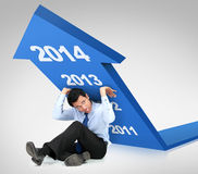 Business growth 2014. Businessman trying to push arrow upwards stock illustration