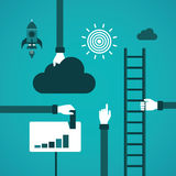 Business growth or career ladder vector concept in flat style Stock Images