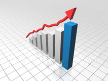Business Growth Chart. Business Bar Graph with a red arrow showing growth of profits/sales/gains. A concept for good business results, sales increase, good Stock Photo