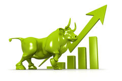 Business growth chart and bul. 3d Business growth chart and bull Stock Images