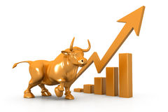 Business growth chart and bull. 3d Business growth chart and bull Royalty Free Stock Photo