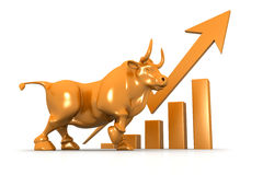 Business growth chart and bull. 3d Business growth chart and bull Stock Image