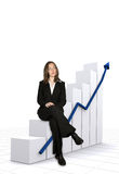 Business growth chart concept with a businesswoman Stock Photos
