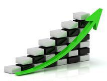 Business growth chart with a green arrow Stock Photos