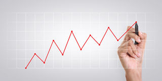 Business growth chart. A hand drawing chart on the screen, business growth concept Stock Photo