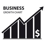 Business Growth Chart Icon - Vector Illustration. Isolated On White Background Royalty Free Stock Photo