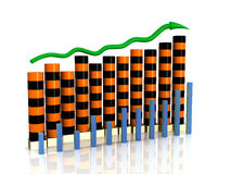 Business growth chart of orange black boxes Stock Images