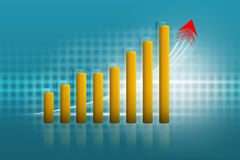 Business growth chart, yellow, blue background vector illustration