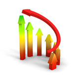 Business Growth Colorful Bar Diagram with red arrow. 3d render illustration Stock Images