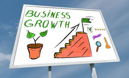 Business growth concept on a billboard. Business growth concept drawn on a billboard royalty free stock photos