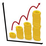 Business growth concept, chart graph with coins red arrow pointing up. Isolated on white background Royalty Free Stock Photo
