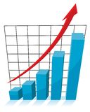 Business growth concept, 3d chart graph. With red arrow pointing up Royalty Free Stock Photos
